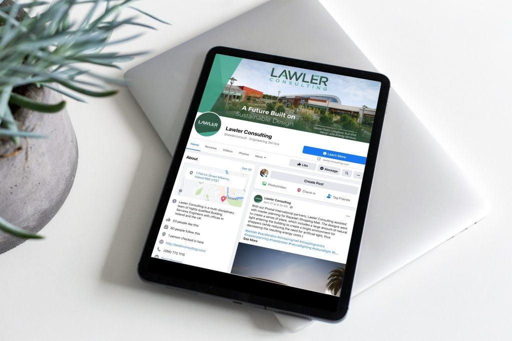 Lawler Consulting facebook iPad mockup
